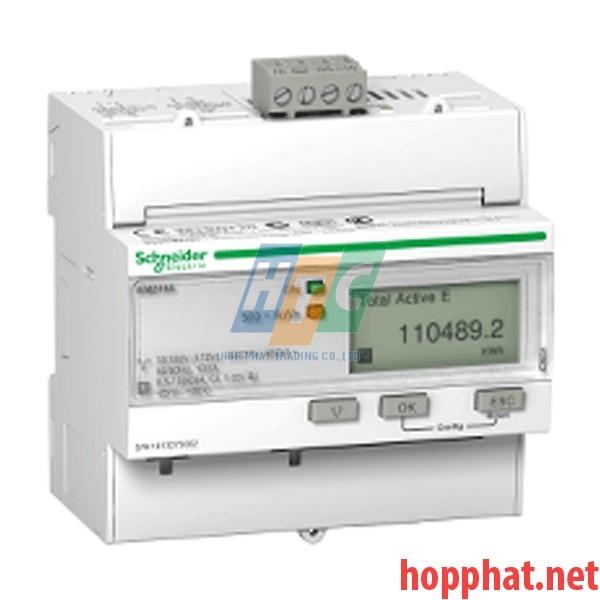 Đồng hồ tích hợp biến dòng 63A, thông số đo: kWh,U,I,P,F, kích thước 5x18mm, Bacnet - A9MEM3165