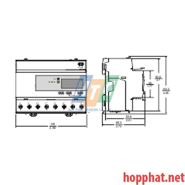 Đồng hồ tích hợp biến dòng 125A, thông số đo: kWh.U,I,P,F, kích thước 5x18mm, Bacnet - A9MEM3365